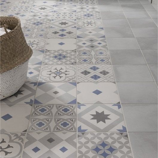 Carrelage sol et mur gris effet ciment gatsby x for Carrelage clipsable leroy merlin