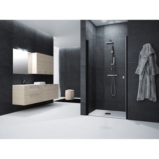 porte de douche pivotante 90 cm transparent neo leroy merlin. Black Bedroom Furniture Sets. Home Design Ideas