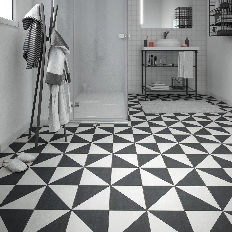 Carrelage sol et mur noir blanc effet ciment Dément l.20 x L.20 cm ...
