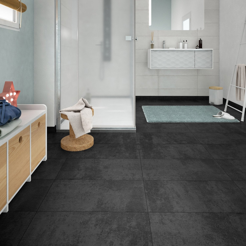 Carrelage sol et mur forte béton noir Emotion l.30 x L.60.4 cm