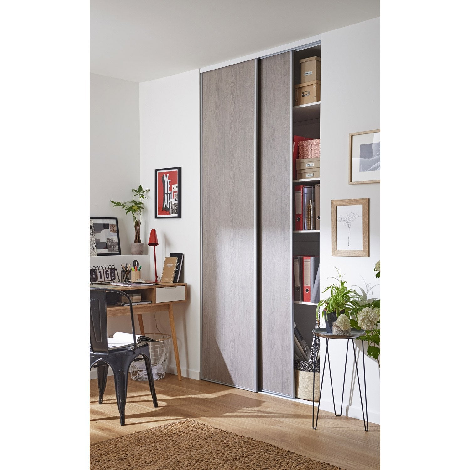 lot de 2 portes de placard coulissante effet ch ne gris x cm leroy merlin. Black Bedroom Furniture Sets. Home Design Ideas