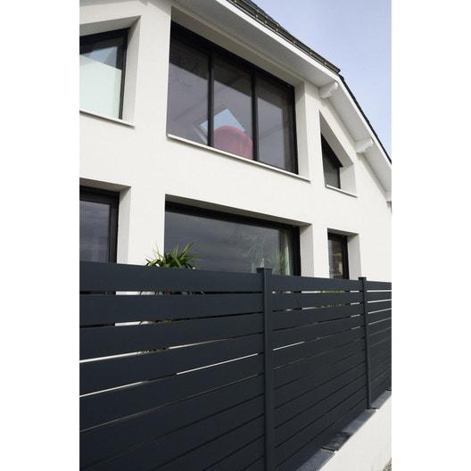 Cloture De Facade clôture de façade aluminium klos'up ajouré naterial gris   leroy merlin