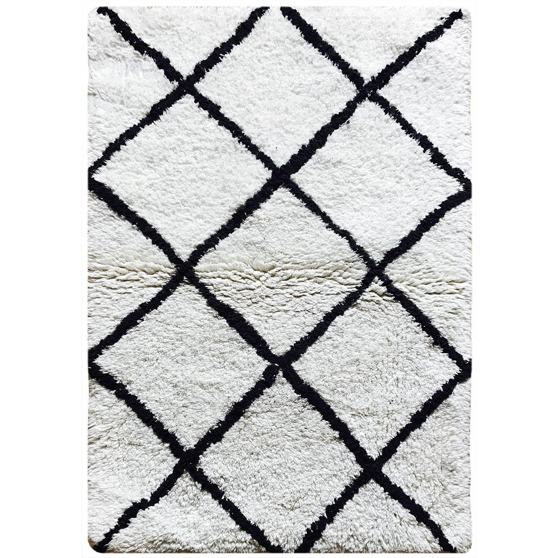 Tapis de bain l.60 x L.90 cm blanc et noir, Ethno SENSEA