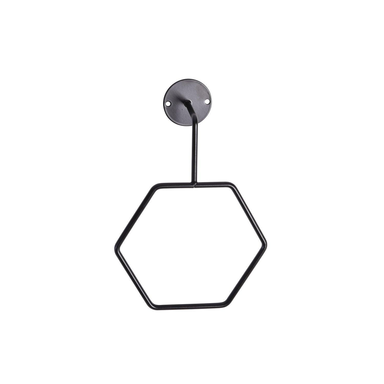 Porte-serviettes métal anneau hexagonal, black 0