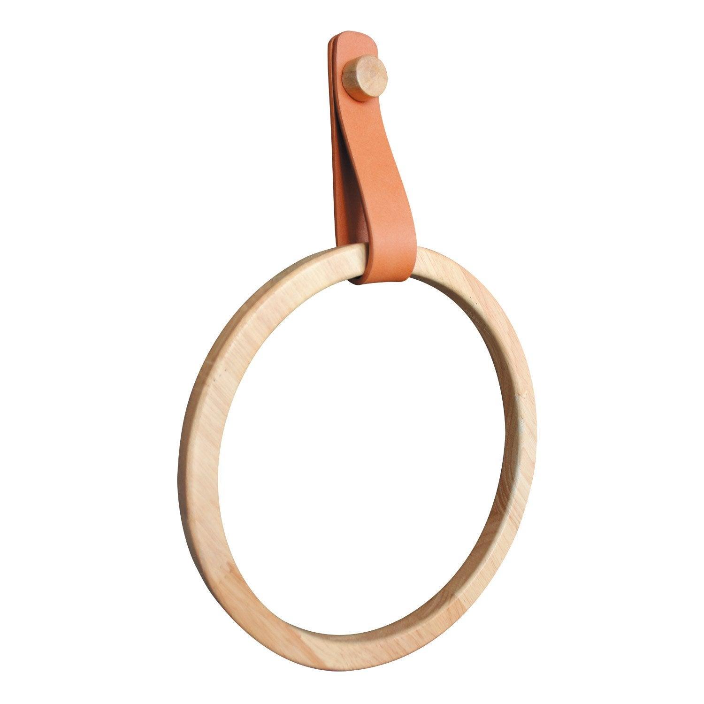 Porte-serviettes anneau Capsule effet cuir et bois