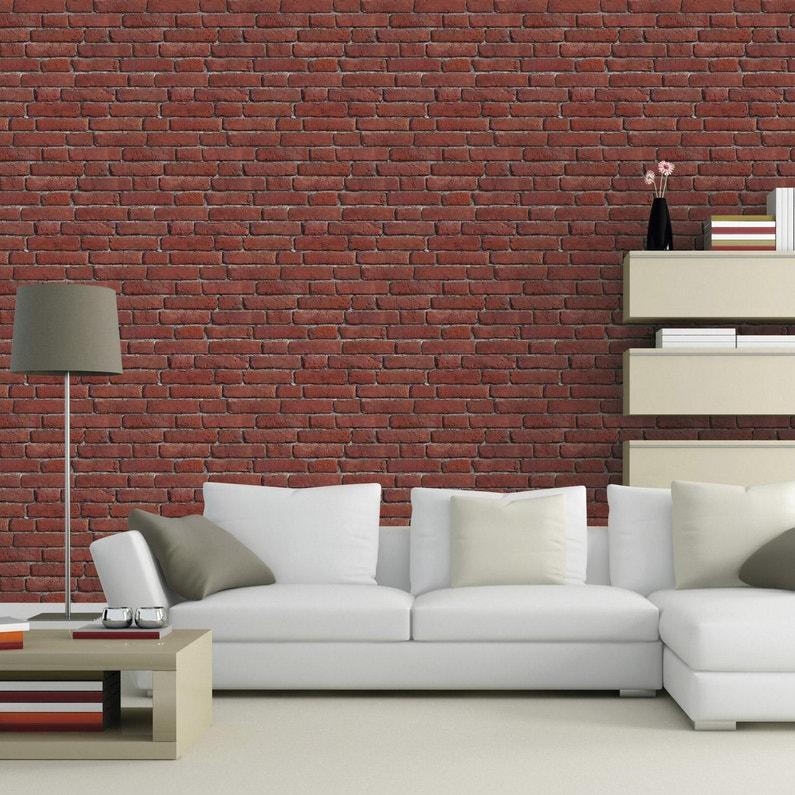 Papier peint intissé Briques anciennes orange | Leroy Merlin