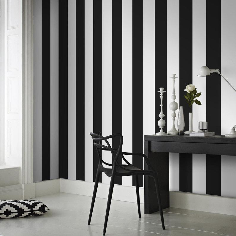 Papier Peint Vinyle Sur Intisse Rayures Noir Et Blanc Leroy Merlin
