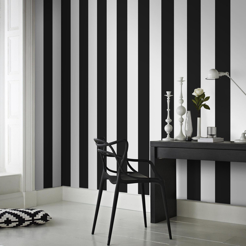 Papier peint intissé Rayures noir | Leroy Merlin