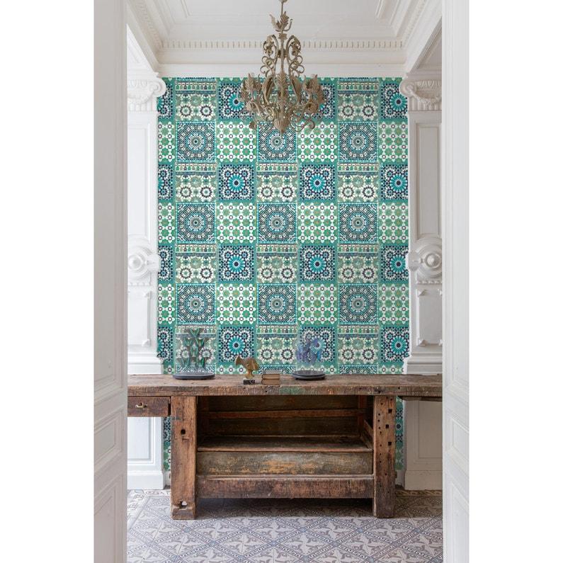 Papier Peint Intisse Morrocan Mosaik Bleu Leroy Merlin