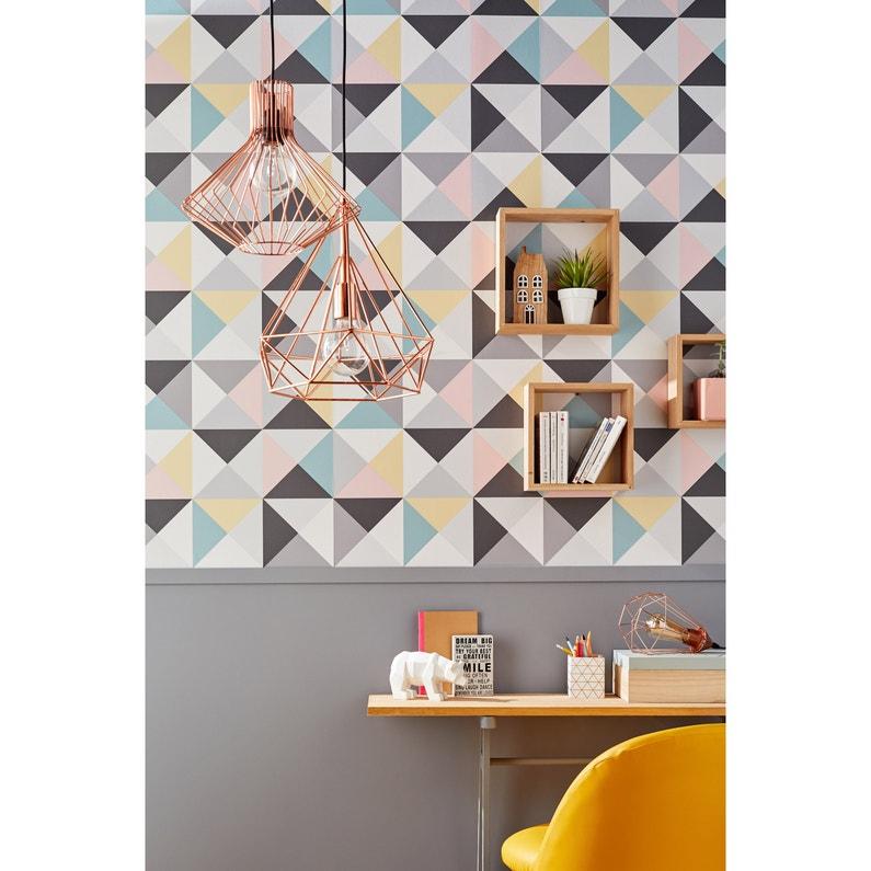 Papier peint vinyle Polygone gris jaune rose vert | Leroy Merlin