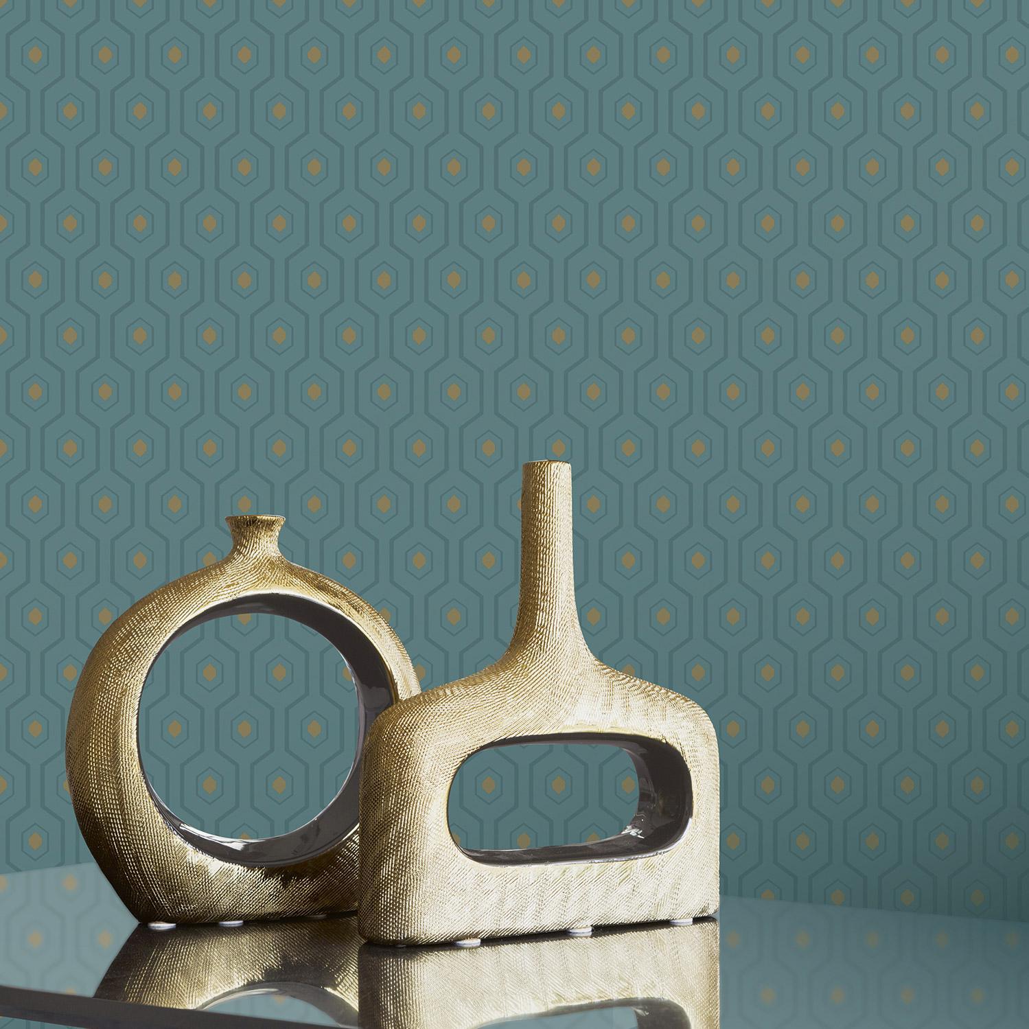 Papier peint expansé Ashton Velour bleu or