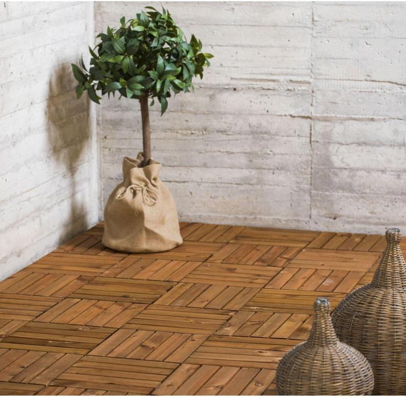 Dalle clipsable bois Acacia, naturel, L.30 x l.30 cm x Ep.19 mm