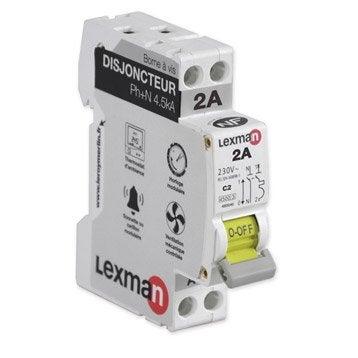 Disjoncteur phase + neutre LEXMAN 2 A