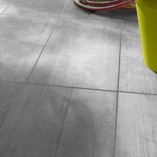 Carrelage sol gris clair effet b ton industry x l for Carrelage sol gris clair