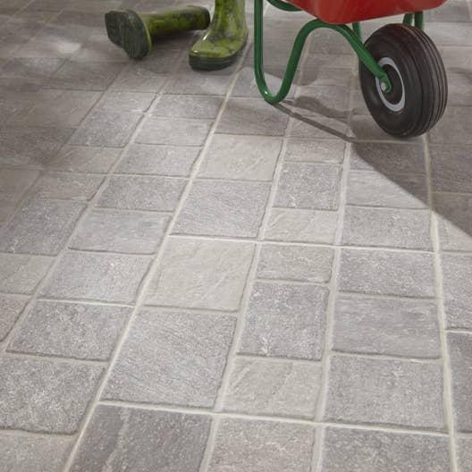 Carrelage sol gris effet pierre sanpietrini x cm for Leroy merlin carrelage interieur