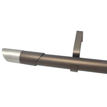 Kit de tringle à rideau extensible Nordik Diam. 25/28mm moka mat 160/300cm métal