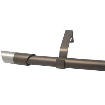 Kit de tringle à rideau extensible Nordik Diam. 16/19mm moka mat 120/210cm métal