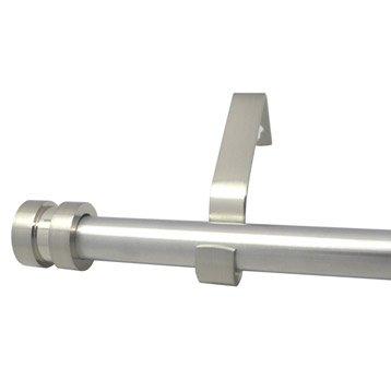 Kit de tringle à rideau extensible Axel écrou Diam. 16/19 mm gris mat 120/210 cm