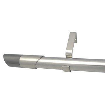 Kit de tringle à rideau extensible Nordik Diam. 25/28mm gris mat 120/210cm métal