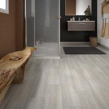Carrelage sol et mur gris perle effet bois Helsinka l.20 x L.60 cm