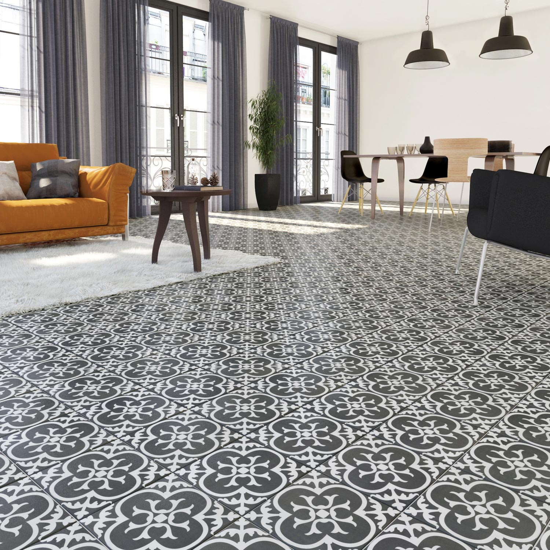 Carrelage sol et mur forte carreau de ciment noir et blanc Gatsby floral  l.20 x