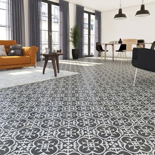 Carrelage sol et mur noir blanc effet ciment gatsby x for Ou acheter des carreaux de ciment