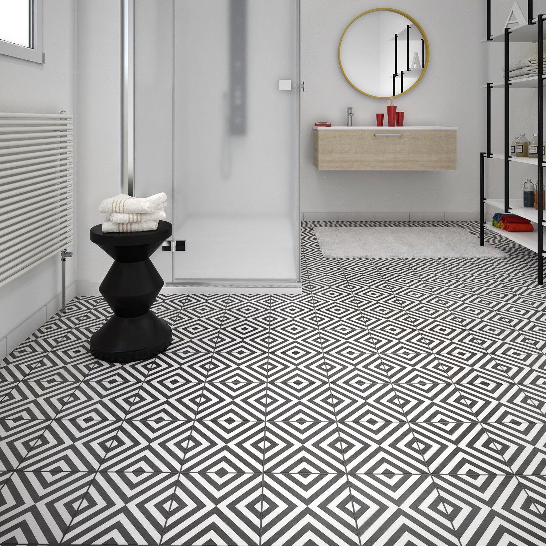 Carrelage Sol Et Mur Noir Blanc Effet Ciment Dément L X L Cm - Carrelage ciment