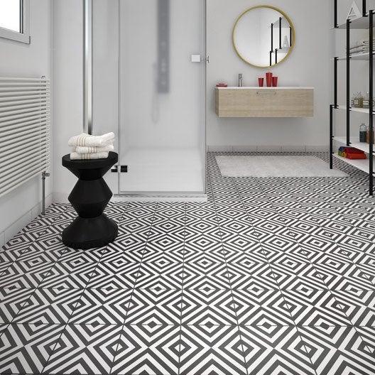 Carrelage sol et mur noir blanc effet ciment d ment x for Carrelage damier noir et blanc 20x20