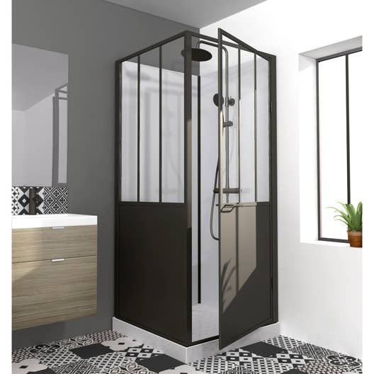 cabine de douche carr x cm atelier leroy merlin. Black Bedroom Furniture Sets. Home Design Ideas