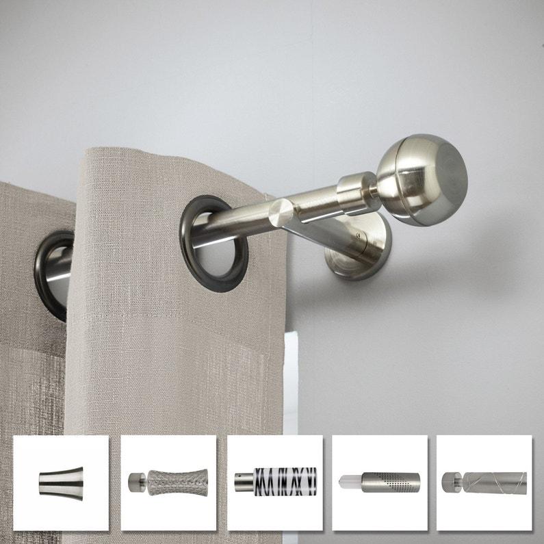 Lot de 2 supports doubles tringle à rideau Chic, 20 mm chromé brossé ...