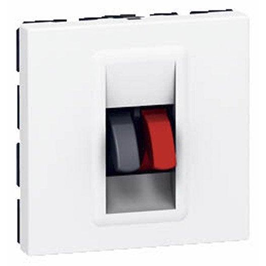 prise haut parleur double mosaic legrand blanc leroy merlin. Black Bedroom Furniture Sets. Home Design Ideas