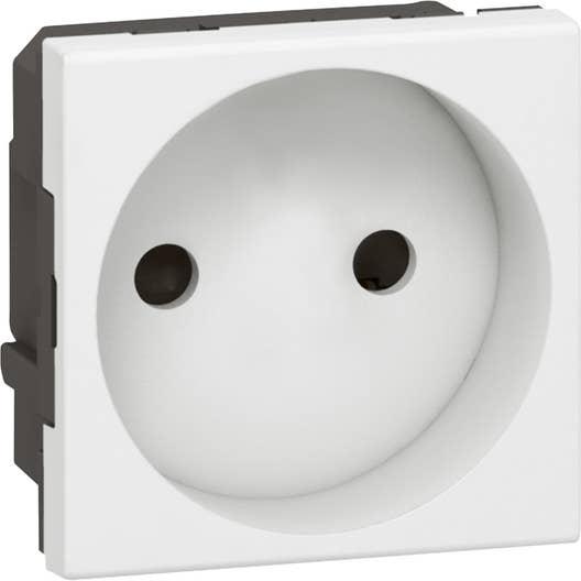 prise sans terre mosaic legrand blanc leroy merlin. Black Bedroom Furniture Sets. Home Design Ideas