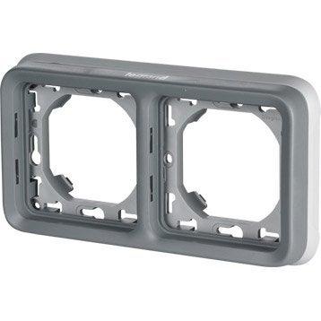 Support + plaque étanches LEGRAND, Plexo, gris