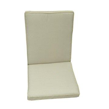 Coussin d'assise+dossier de chaise ou fauteuil NATERIAL Laura, uni blanc ivoire