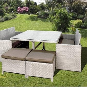 salon de jardin bilbao dcb garden 1 table 2 banquette 4 poufs. Black Bedroom Furniture Sets. Home Design Ideas