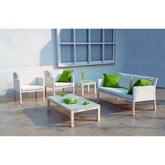 salon bas de jardin menton aluminium 1 canap 2 places 2 fauteuils leroy merlin. Black Bedroom Furniture Sets. Home Design Ideas