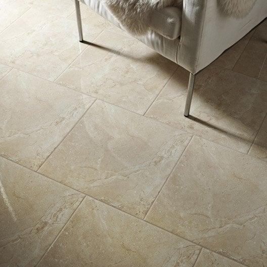 Carrelage sol et mur creme effet marbre carpatia x for Glissance carrelage