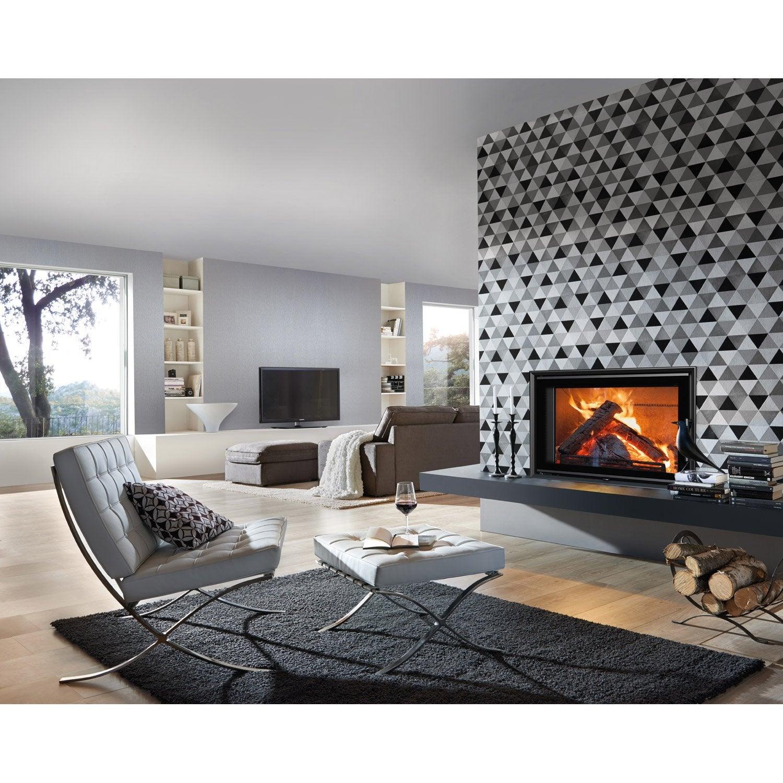 papier peint intiss triangle gris fonc leroy merlin. Black Bedroom Furniture Sets. Home Design Ideas