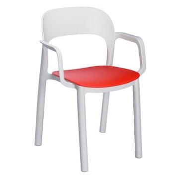 fauteuil de jardin en rsine injecte ona blanc rouge - Fauteuil Exterieur Plastique