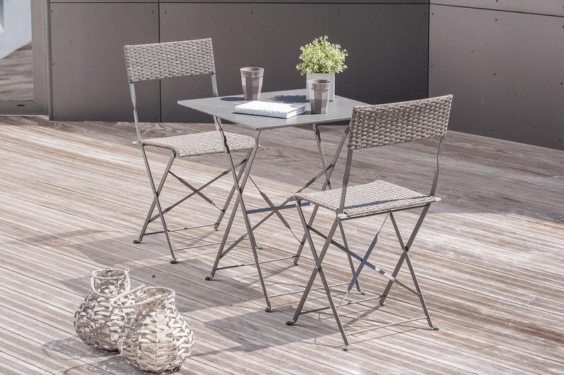 Une table de jardin grise pour deux personnes leroy merlin for Table deux personnes