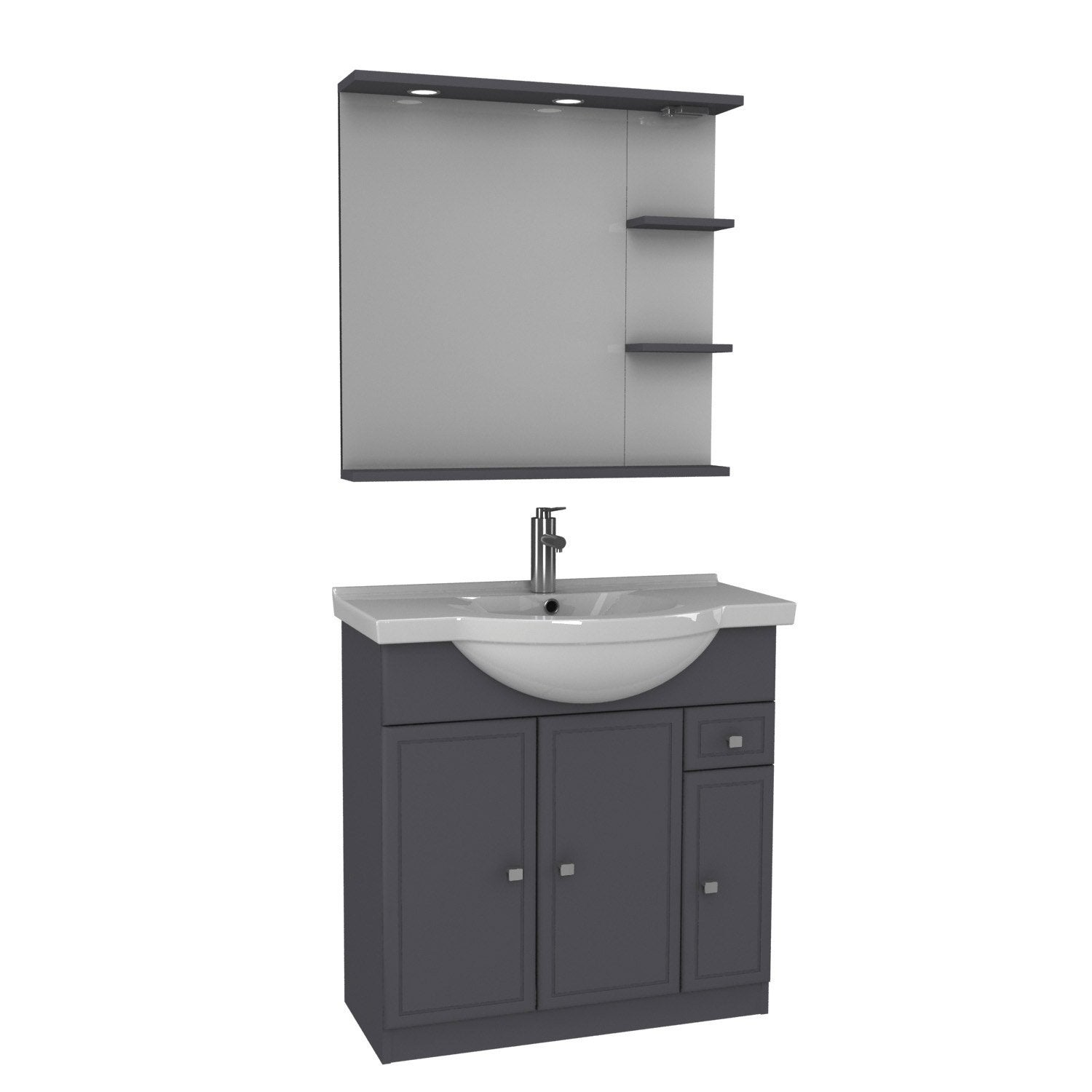 Meuble vasque 85 cm gris galice leroy merlin for Meubles 85