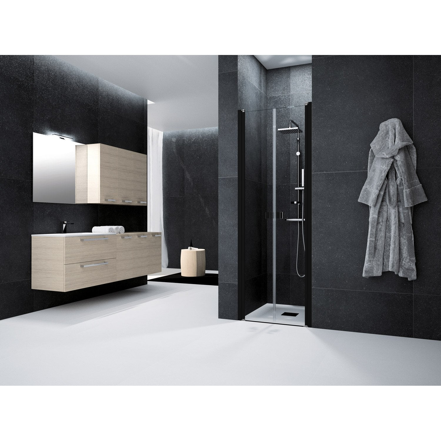 porte de douche battante 70 cm transparent neo leroy merlin. Black Bedroom Furniture Sets. Home Design Ideas