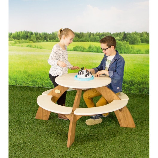 table de pique nique pour enfants orion ronde brun et. Black Bedroom Furniture Sets. Home Design Ideas