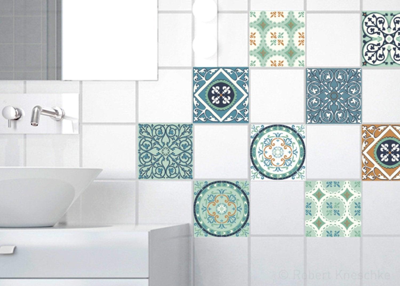 Dans la salle de bains, les stickers carrelage se la jouent déco ...