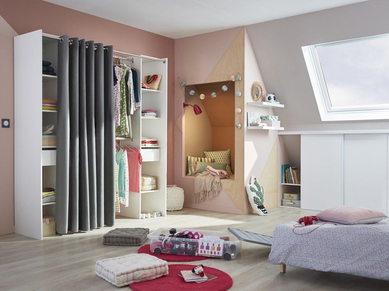 Chambre Gris Blanc Rose une chambre d'ado cosy et studieuse | leroy merlin