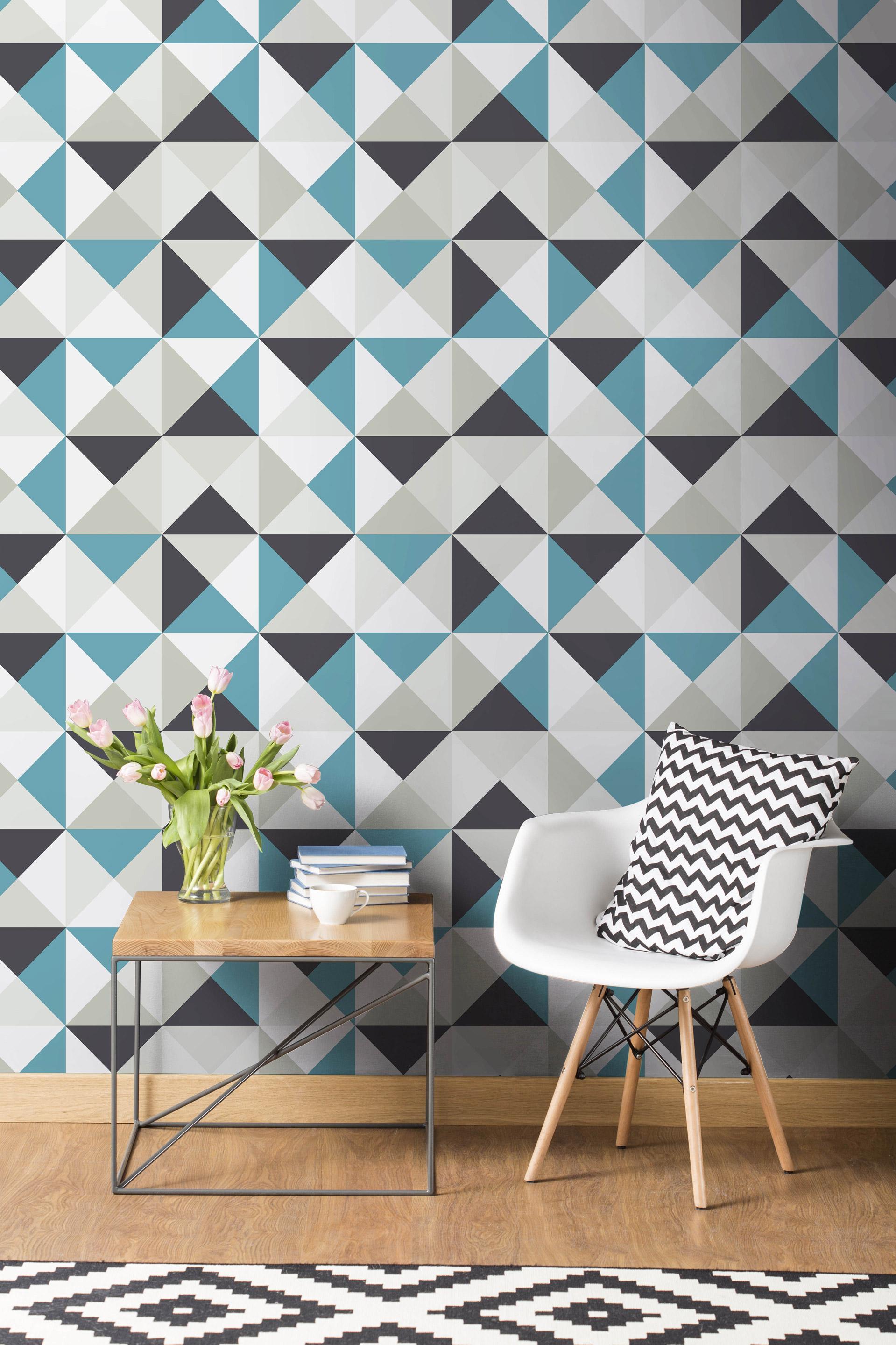 Papier peint intissé Polygone bleu / noir