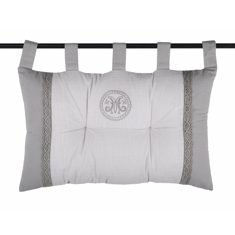 Coussin Marie Pour Tête De Lit Coton Gris Blanc L70 X H45 Cm