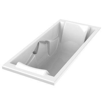 Baignoire rectangulaire L.180x l.80 cm blanc, SENSEA Premium confort