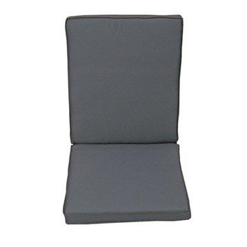 Coussin d'assise+dossier de chaise ou fauteuil NATERIAL Laura, uni gris zingué