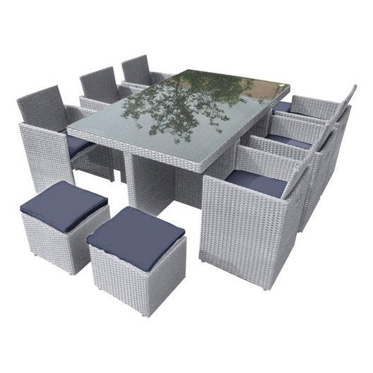 Salon jardin portovecchio r sine plastique gris 1 table for Salon de jardin gris et fushia